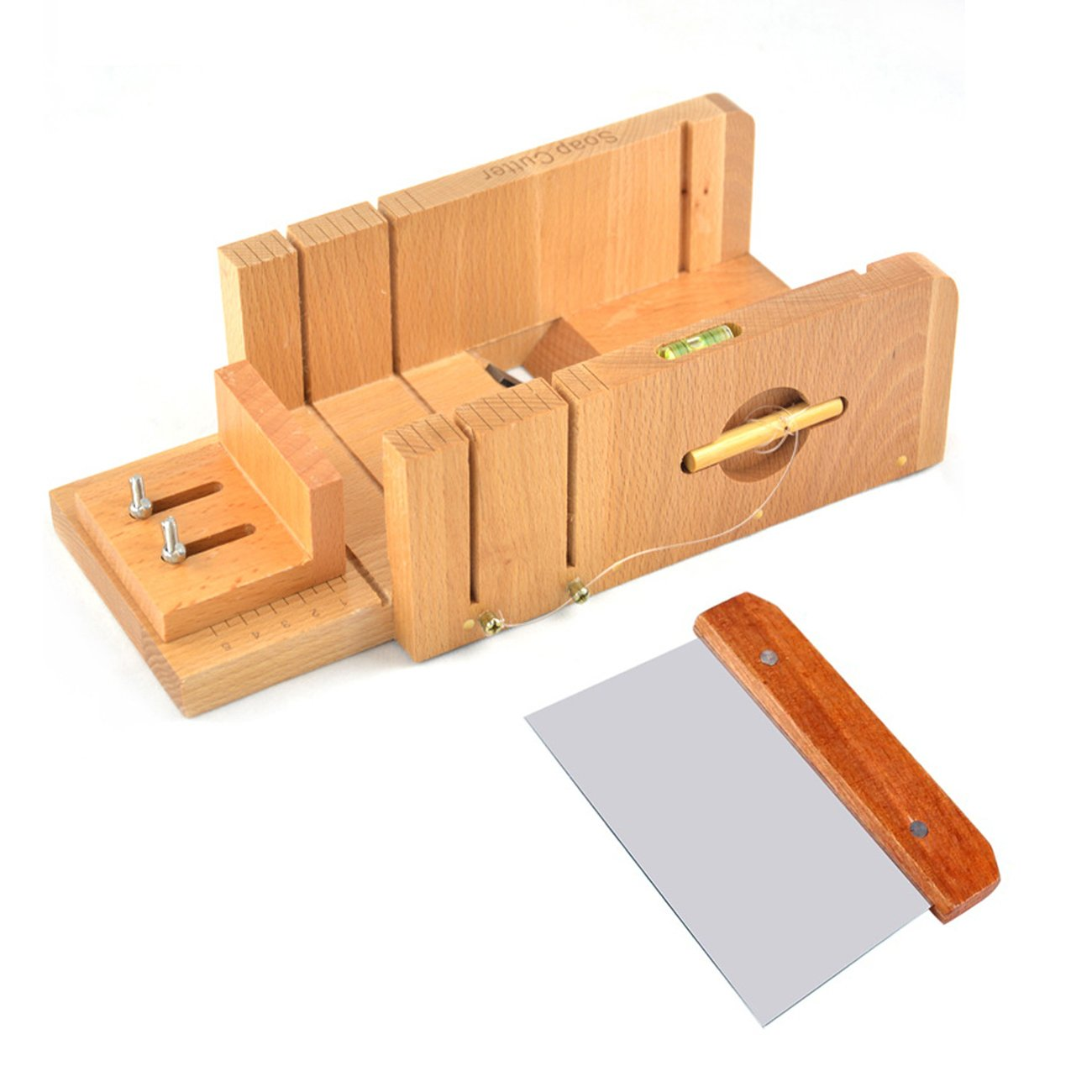 Ogrmar Multi-function Practical Adjustable Bamboo Soap Cutter Soap Making Tools with Soap Beveler / Planer Set (Brown)