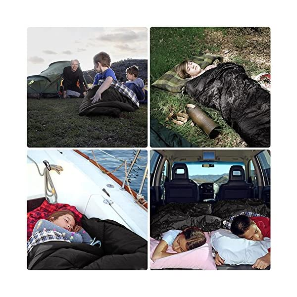 CANWAY Double Sleeping Bag Flannel Sleeping Bags with 2 Pillows for Camping, Backpacking, or Hiking Outdoor. 2 Person Waterproof Sleeping Bag for Adults or Teens. Queen Size XL 9
