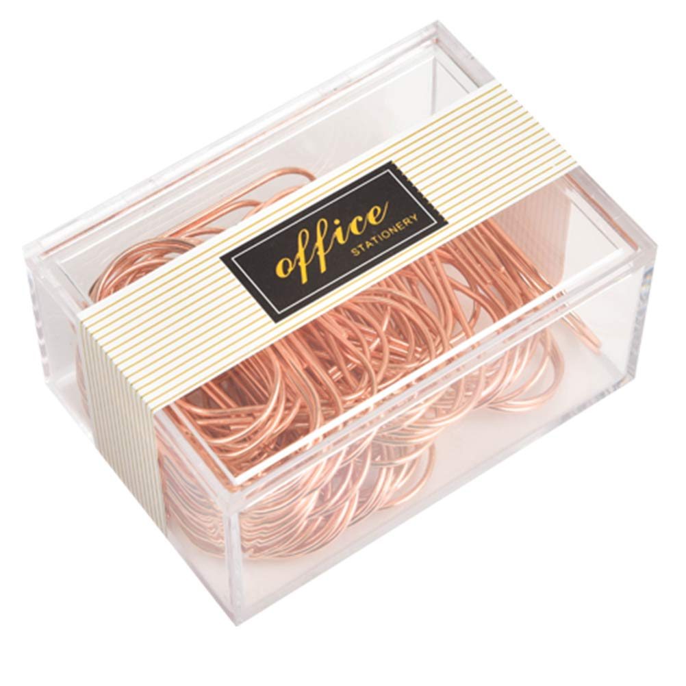 Rose Gold Paper Clips, Topgogo 50pcs 50mm/1.97'' Large Paper Clips Non-Skid Smooth Finish Steel Wire Office Supply Accessories by Topgogo