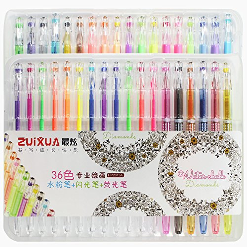 Taotree Premium Multi Gel Color Pen Set with Case,Perfect for Scrapbooks,Party Invites, Greeting Cards,Drawing,Coloring,Writing and More,0.8-1.0mm Fine Point (36 Pens,including Glitter, Neon & Pastel)