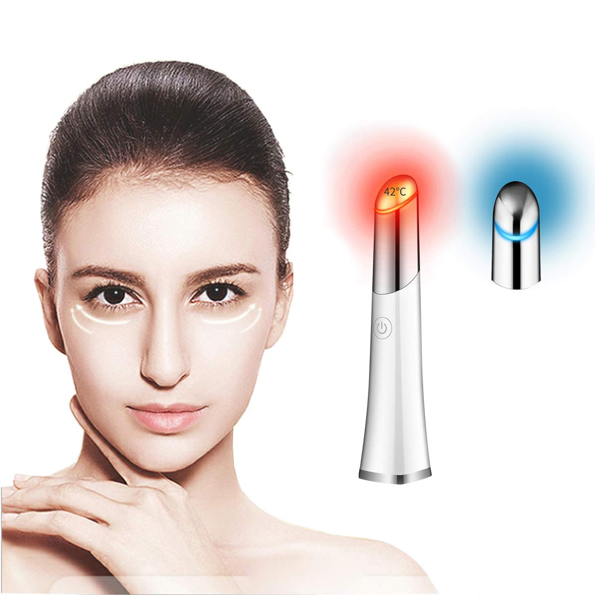Eye Massager,42℃ Ionic Eyes Facial Massager Roller with Heated Sonic Vibration Relieving Dark Circles Fatigue, Puffiness Anti-Aging, Anti-Wrinkle, Two Modes USB Rechargeable (Rose Gold) by Zuoli