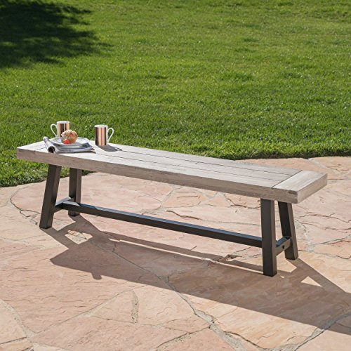 Cassie Outdoor Light Grey Sandblast Finish Acacia Wood Dining Bench with Black Rustic Metal Finish Frame