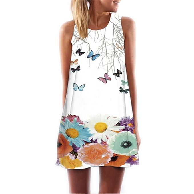 573d13a561 Chiffon Dress Floral Print Sleeveless Summer Dress Brief Casual ...