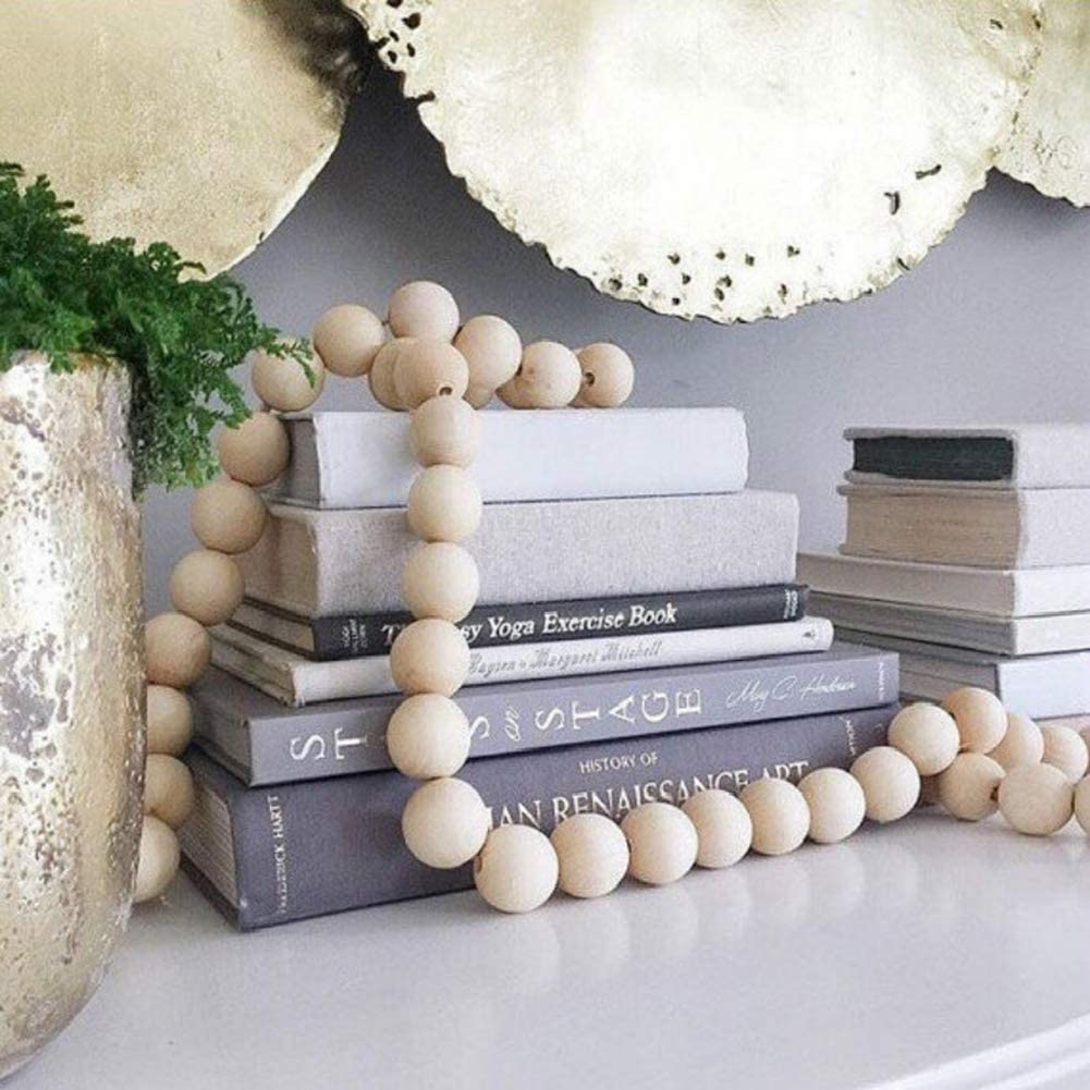 Nordic Round Wooden Beads Garland Wall Art Hanging Pendant Baby Room Home Decor