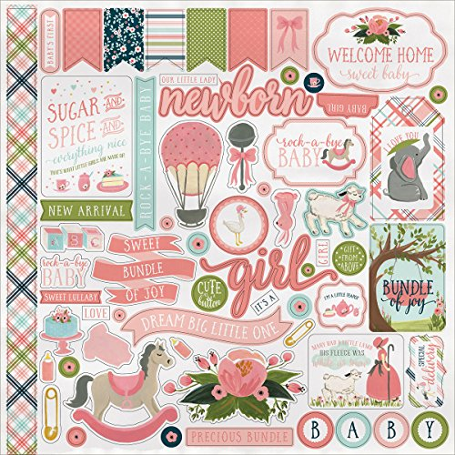 Rock-A-Bye Baby Girl Sticker Sheet - Carta Bella (Baby Girl Scrapbook)