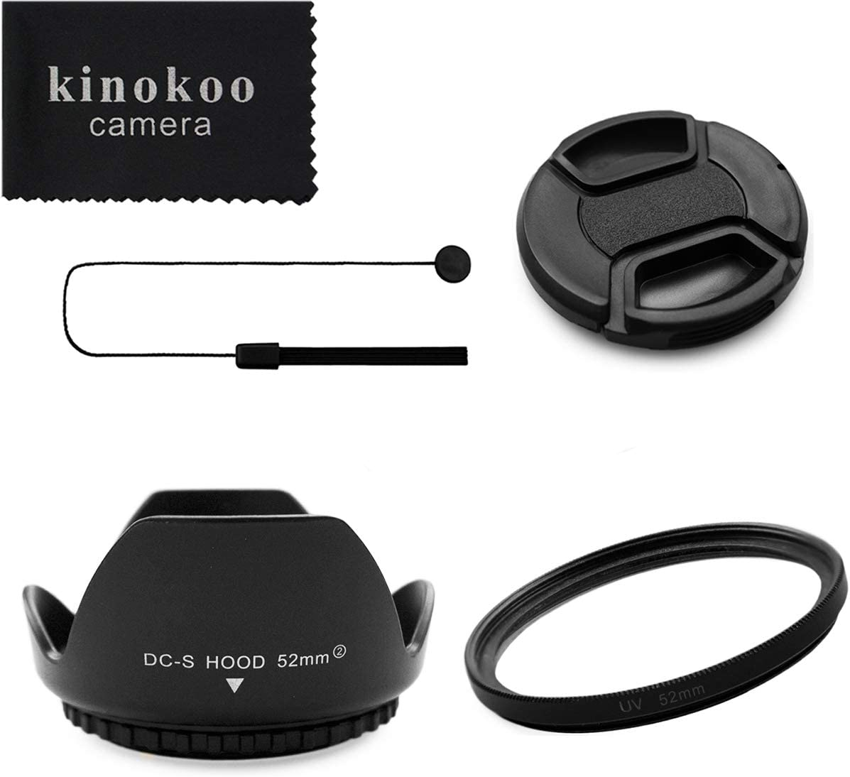 kinokoo 52mm UV Filter Camera Lens Accessories Kit for Fuji X-T30 X-T20 X-T10 X-T100 X-A5, 52mm Reversible Lens Hood+52mm Lens Cap+Lens Cap Leash, Lens Shade Kit(C)