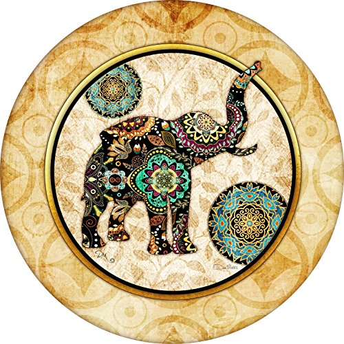 Asian print Elephant Spare Tire Cover for 255/75R17 Jeep RV Camper VW Trailer etc(Select popular sizes from drop down menu or contact us-ALL SIZES AVAILABLE)
