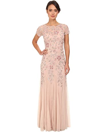 279783d4a7 Adrianna Papell Women's Floral Beaded Godet Gown Dress