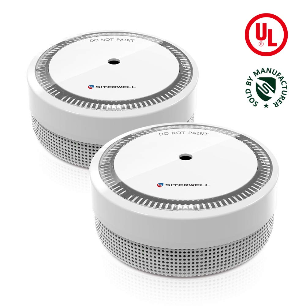 Siterlink 2 Pack Mini Smoke Alarm 10 Years Battery Operated Smoke and Fire Alarm Big Button for Easy Pressing Hush Function(GS522C) by Siterlwell