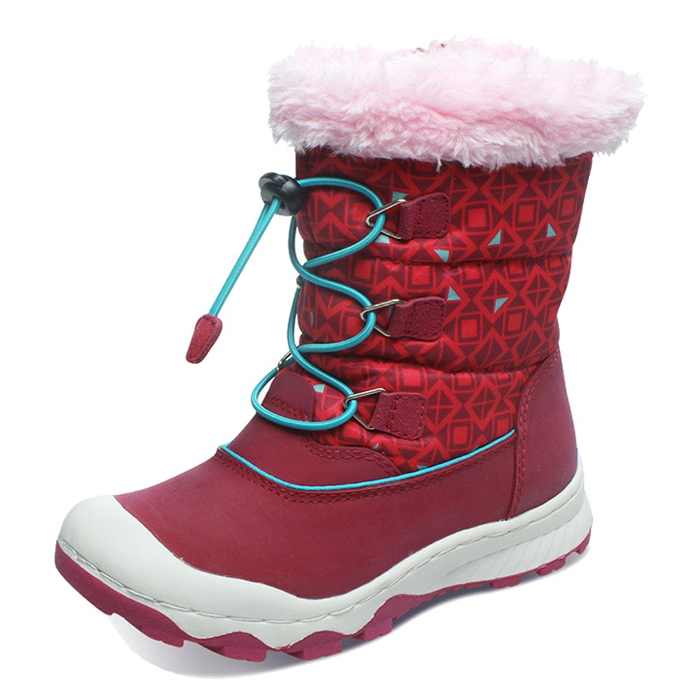 iDuoDuo Girls Sweet Princess Cold Weather Warm Toggle Snow Boot (2 M US Little Kid, Rose Red)