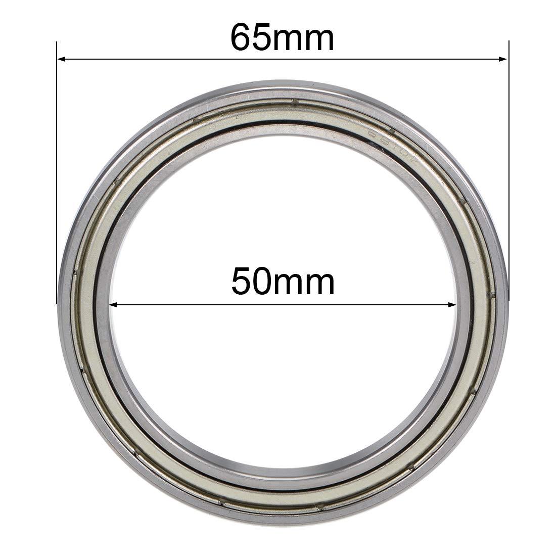 uxcell 6810ZZ Deep Groove Ball Bearings 50mm Inner Dia 65mm OD 7mm Bore Double Shielded Chrome Steel Z2 2pcs