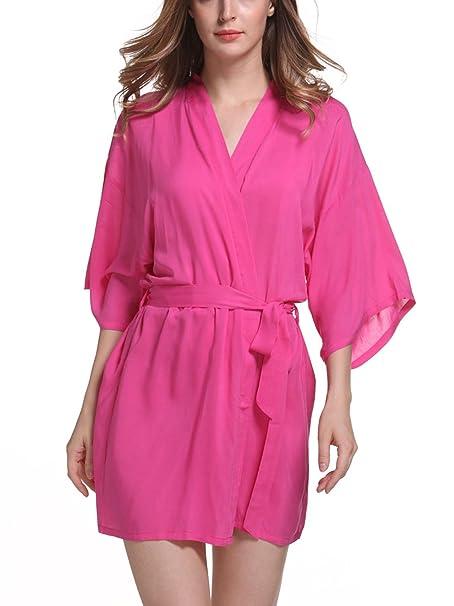 FEOYA - Bata Kimono con Cinturón para Mujer Color Puro Larga Ropa de Dormir - Rosado