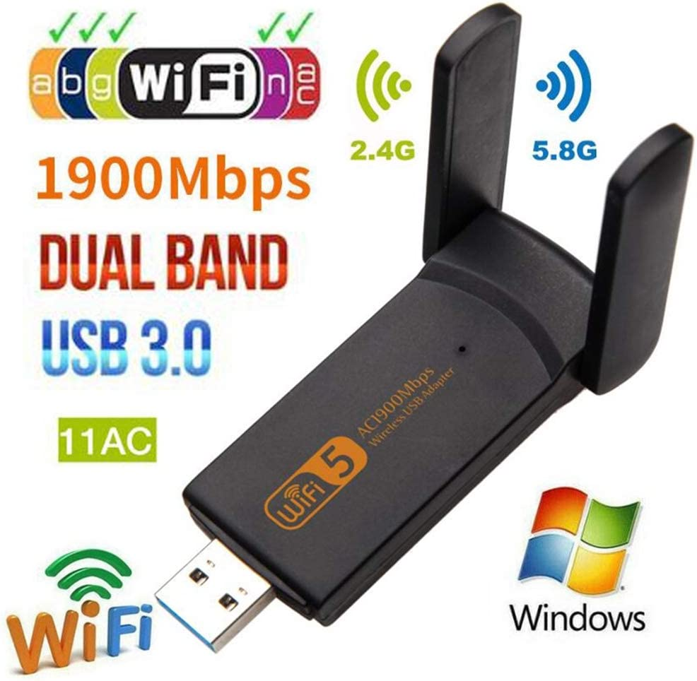 USB WiFi Adapter Mini Wireless Network Card WiFi Dongle for Laptop//Desktop//PC 1900mbps Dual Band 2.4G// 5G Wireless Adapter Support Windows10//8//8.1//7//Vista//XP//2000 Mac OS X 10.6-10.14 Black