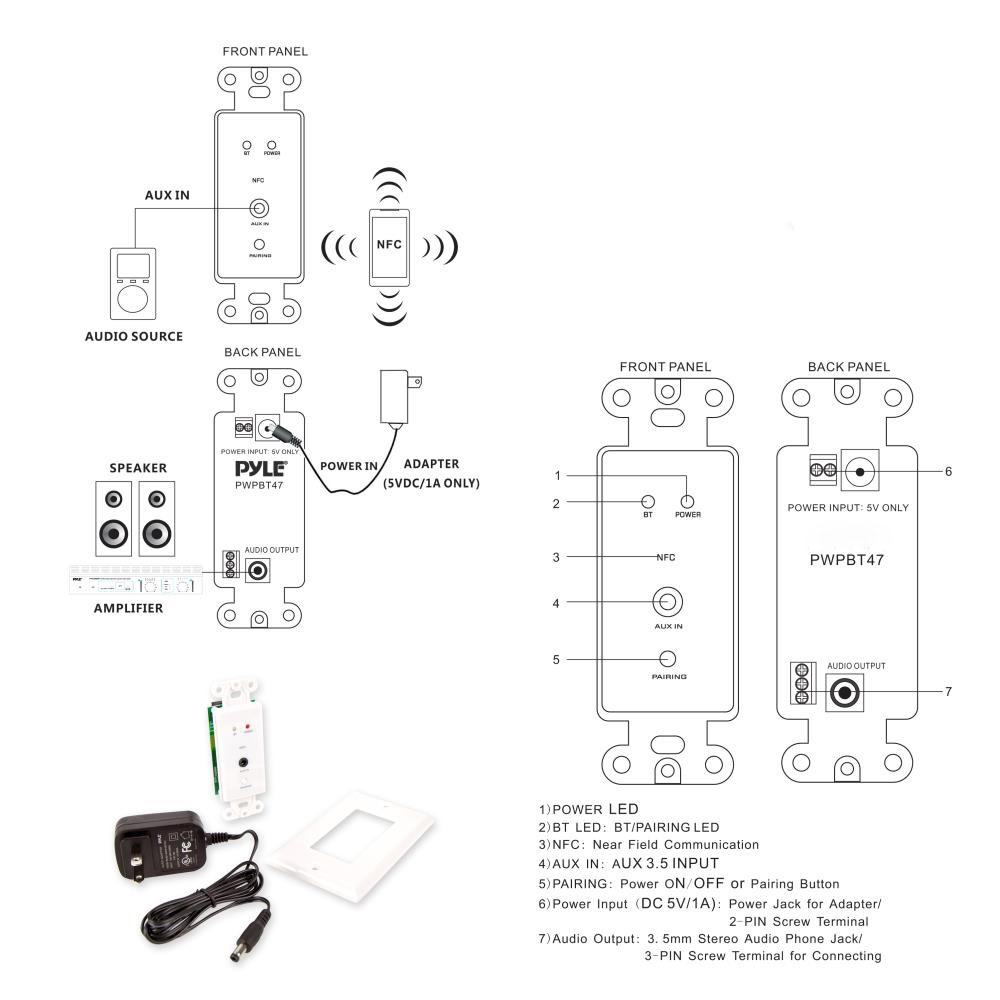 Pyle In Wall Wireless Music Receiver Home Theater Audio Rotary Switch Wiring Control Bluetooth Nfc Aux 35mm Input