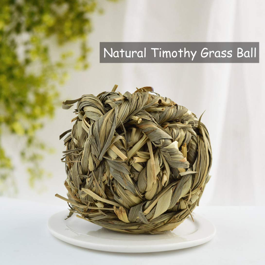 Poualss Natural Woven Timothy Grass Ball Pet Balls Chew Toy for Rabbits Guinea Pigs Hamsters, Small Animal Toy(3 Pack)