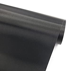 "Faux Black Brushed Metal Stainless Steel Contact Paper Self Adhesive Vinyl Shelf Drawer Liner for Refrigerators Dishwashers Appliance Etc (19.6""Wx78.6""L)"