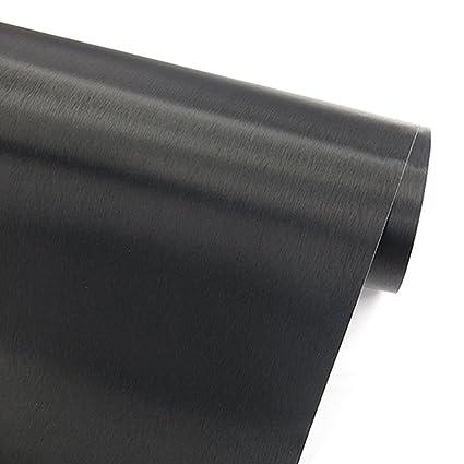 Papel adhesivo imitación de acero inoxidable con acabado de metal cepillado color negro, vinilo autoadhesivo