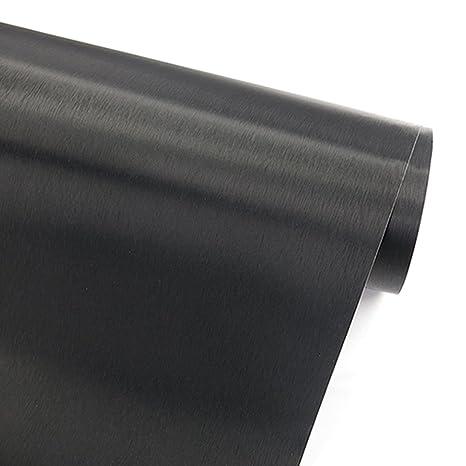 Papel adhesivo imitación de acero inoxidable con acabado de metal cepillado color negro, vinilo autoadhesivo para forrar cajones, neveras, ...