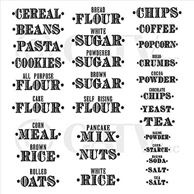 Kitchen Food Organization Clear Gloss Labels (Set of 30, Basics-Title Only)