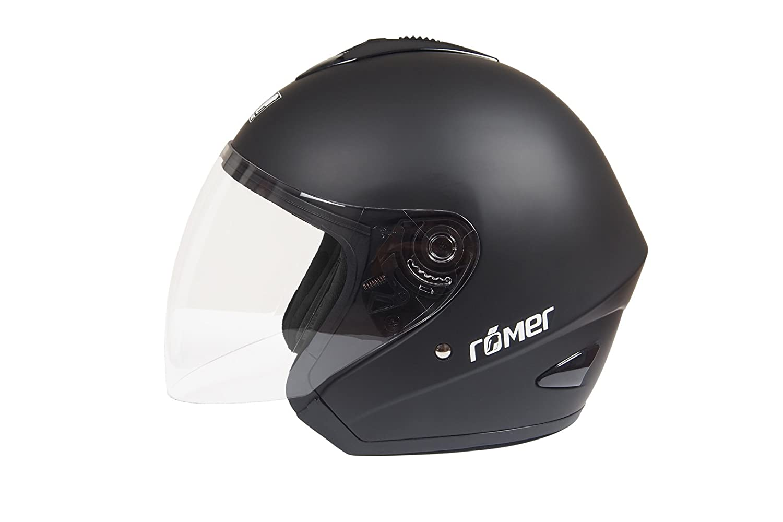 R/ömer Helmets f/ür den Stra/ßenverkehr Zugelassener Jethelm R/ömer ST11 mit Gro/ßem Visier Schwarz Gr/ö/ße L