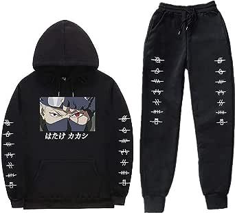AMCYT Amacigana® Naruto Hatake Kakashi Hoodie Joggingbroek Sets Unisex 2 Stuks Capuchontrui Lange Mouwen Hoodie voor Jongens En Meisjes Trui En Broek