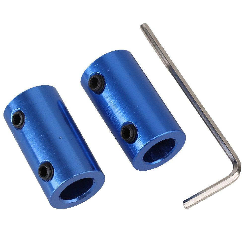 BQLZR Blue 5mm to 8mm Shaft Rigid Motor Wheel Coupling Coupler Alumlnum Bo?tier Avec Vis Pack of 2