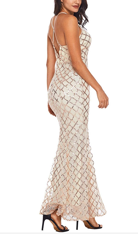 YUKILO Womens V-Neck Sequin Sleeveless Spaghetti Strap Bodycon Long Maxi Party Dress