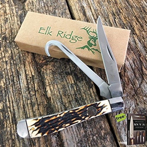 Elk Ridge ER-436I Gentlemans Folding Pocket Knife Carbon Sharp Blade EDC EQUESTRIAN gut hook + Free eBook By SURVIVAL STEEL