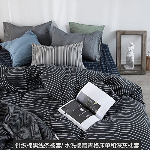 New Kexinfan Quilt Cover Washed Cotton Four-Piece Set Cotton Cotton Cotton Knit Cotton Bedding Sheets Quilt, Bed, E, 2.0M (6.6 Ft) Bed