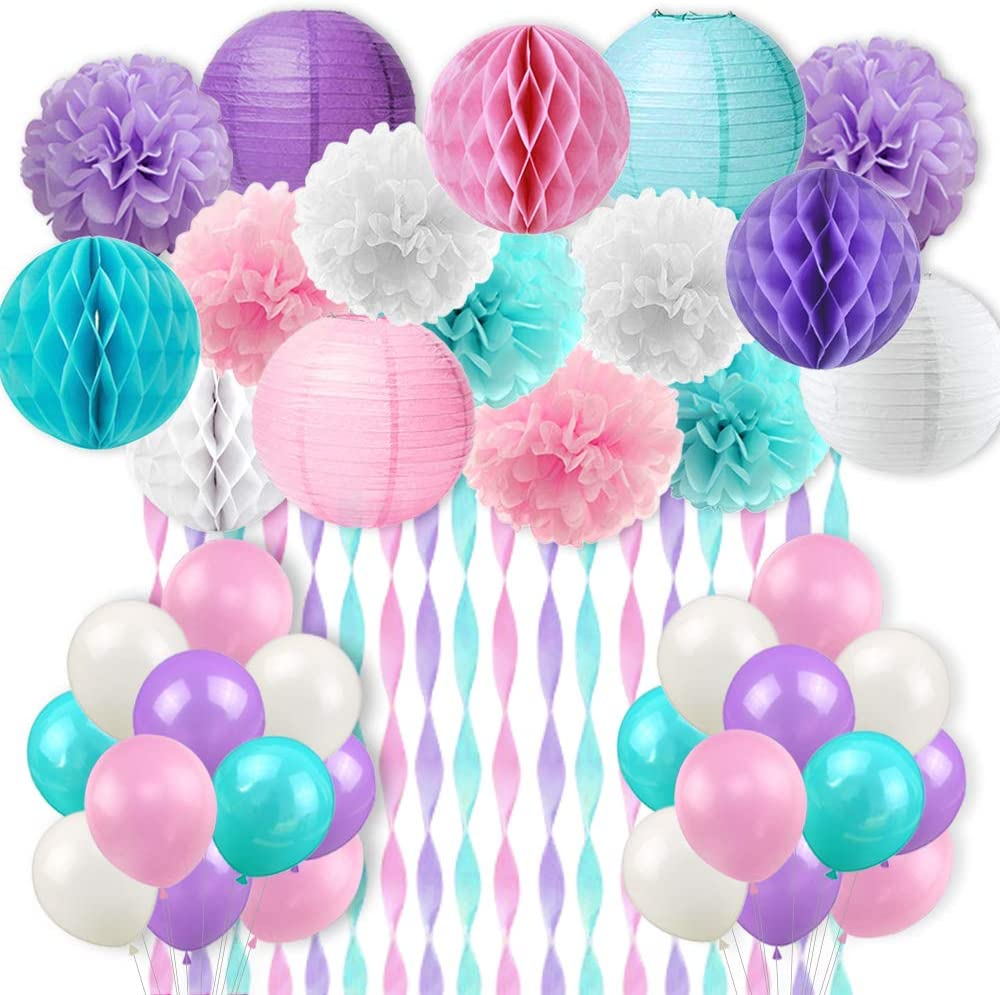 Kreatwow Mermaid Unicorn Party Decorations Pink Purple White Aqua Crepe Paper Mermaid Balloons Tissue Paper Pom Poms Lanterns for Girls Birthday Baby Shower 59 Pack