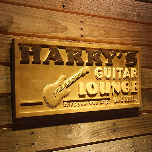 (ADVPRO wpa0280 Name Personalized Guitar Lounge Music Band Drum Room Wood Engraved Wooden Sign - Standard 23