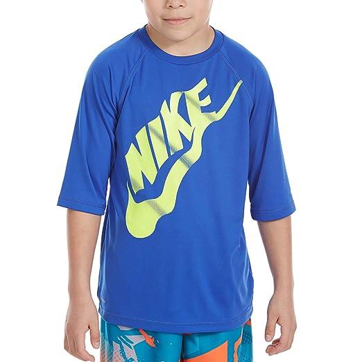 half off fe54d ba1be Nike Big Boys  Solid Half-Sleeve HYDROGUARD Rash Guard TOP (Medium)