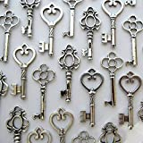 Salom¨¦ Idea mixed Set of 30 Large Skeleton Keys in Antique Silver, with Free Gift--cup Mat*1