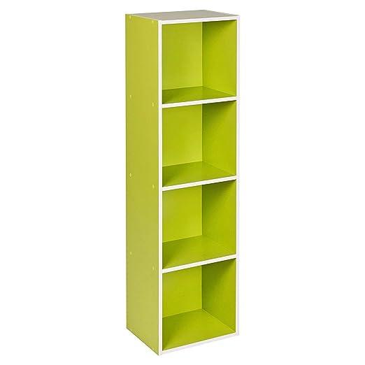 Estante de madera, varios modelos con 1, 2, 3 o 4 compartimentos, Verde, 4 niveles: Amazon.es: Hogar