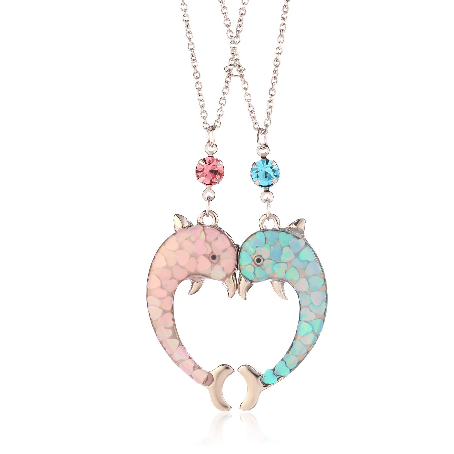 Lemonage Dolphin Necklace Fashion Magnet Function Heart Shape Locket Necklaces, Jewelry for Women Girls Sister Best Friend 2-Piece
