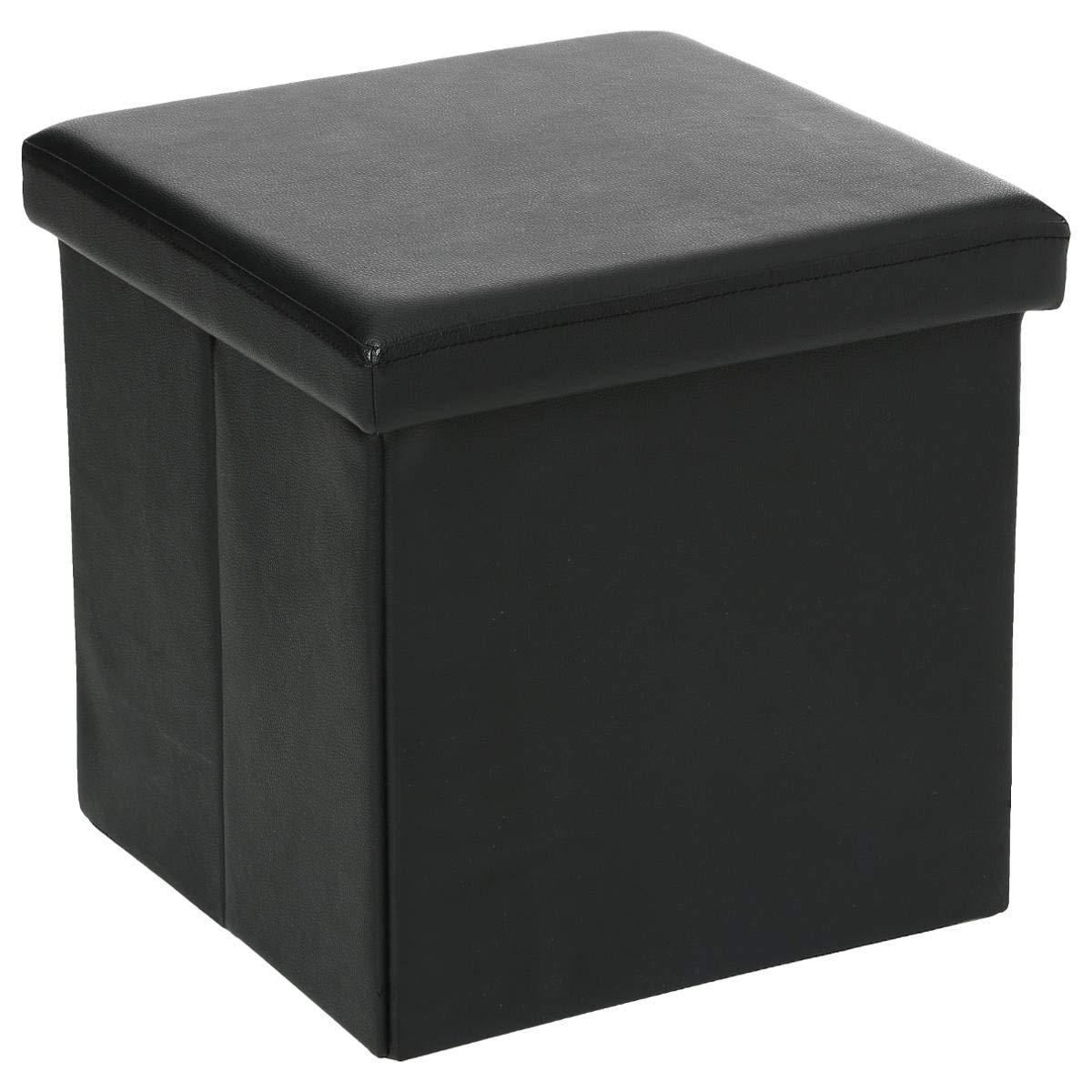 2 in 1 Pouf contenitore sgabello - colore NERO AC-Déco