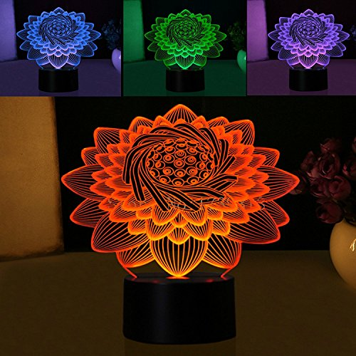 New 3D Lotus Flower Night Light Touch Switch Table Desk Optical Illusion Lamps 7 Color Changing Lights LED Table Lamp Xmas Home Love Brithday Children Kids Decor Toy Gift ()