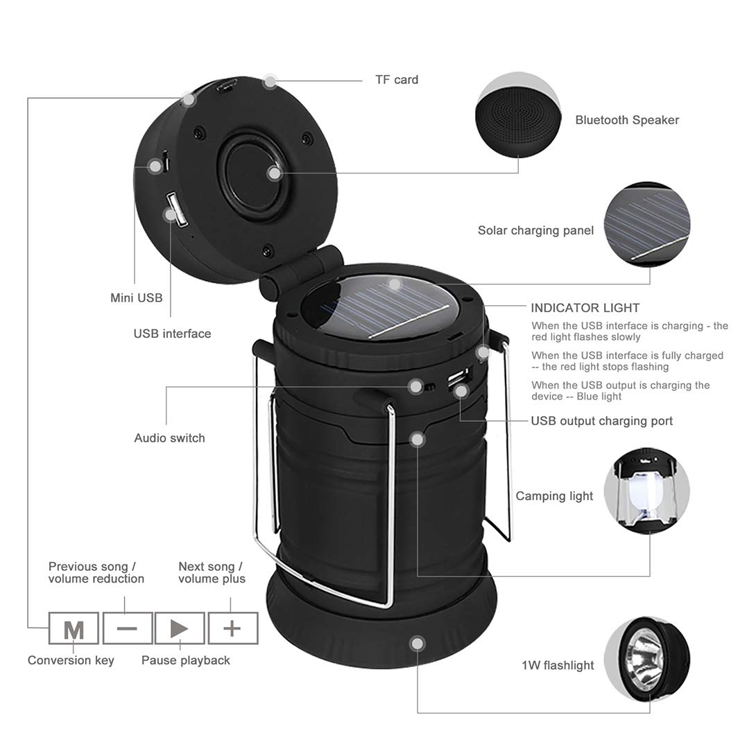 Camping Lantern Best 5 in 1 Solar and USB Rechargeable LED Camping Lantern Flashlights with Bluetooth Speaker and Power Bank and FM Radio