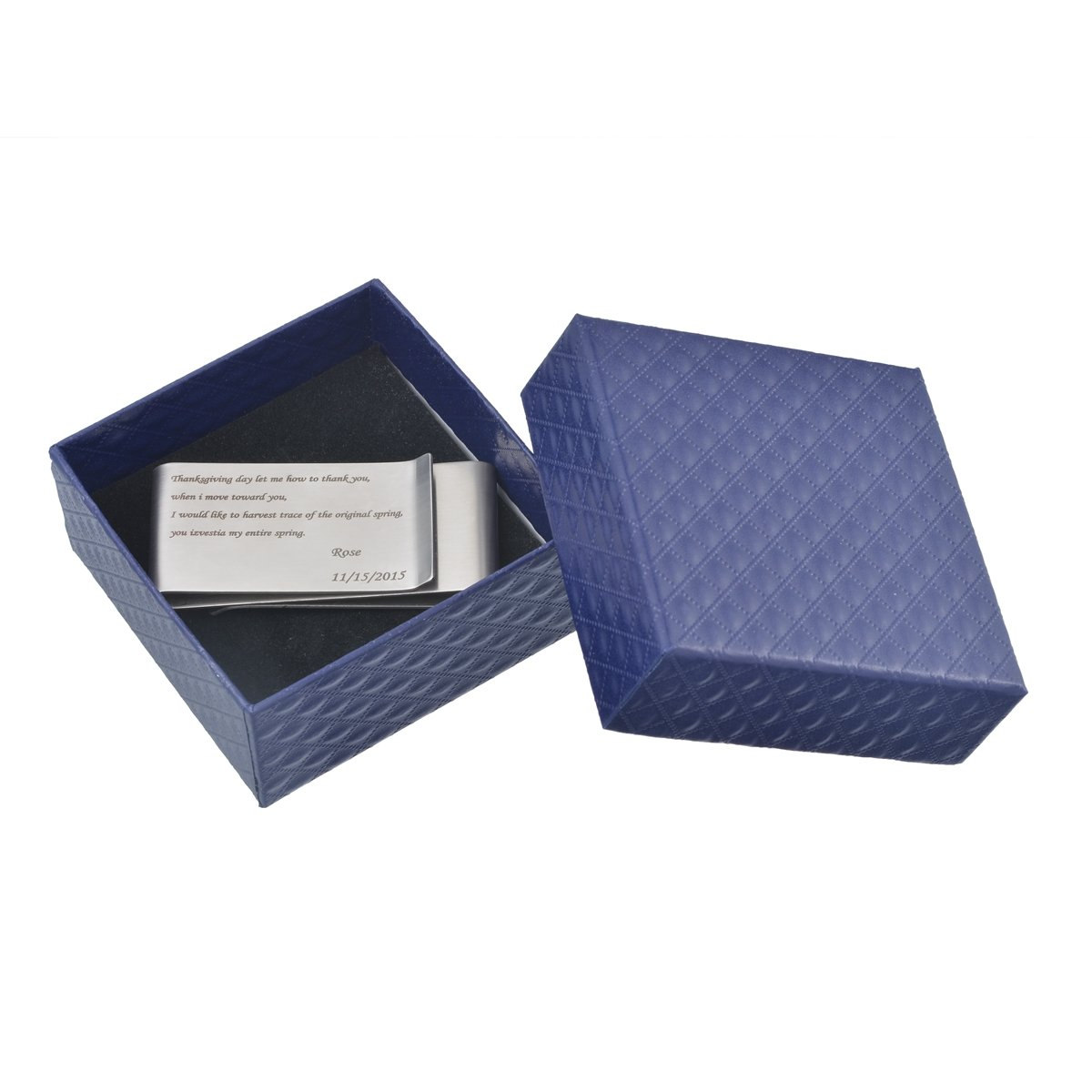 HooAMI Personalized Stainless Steel Money Clip Free Engraving with Beautiful Jewelry Gift Box