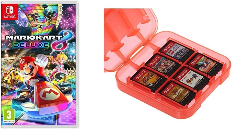 Mario Kart 8 Deluxe & AmazonBasics - Funda para almacenamiento de juegos, para Nintendo Switch - Rojo: Amazon.es: Videojuegos