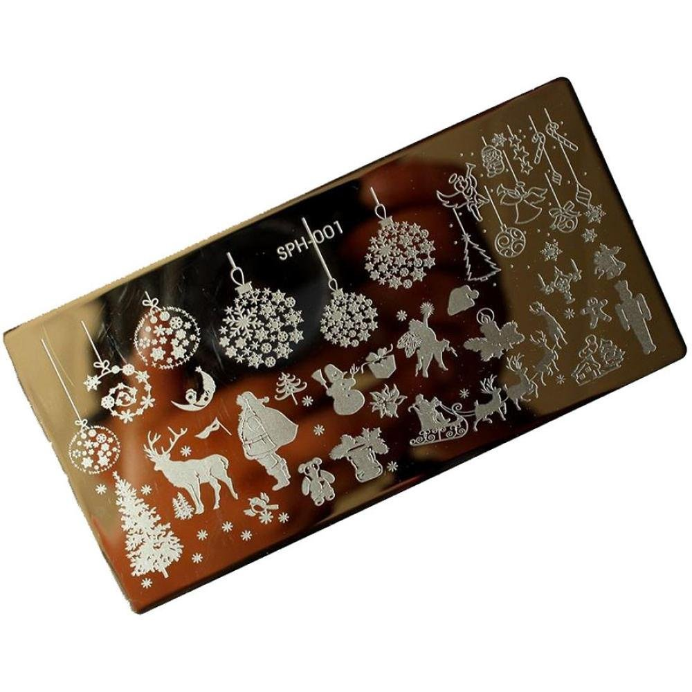 Doinshop Christmas DIY Nail Art Graphic Stamp Stamping Plates Manicure Template (G)