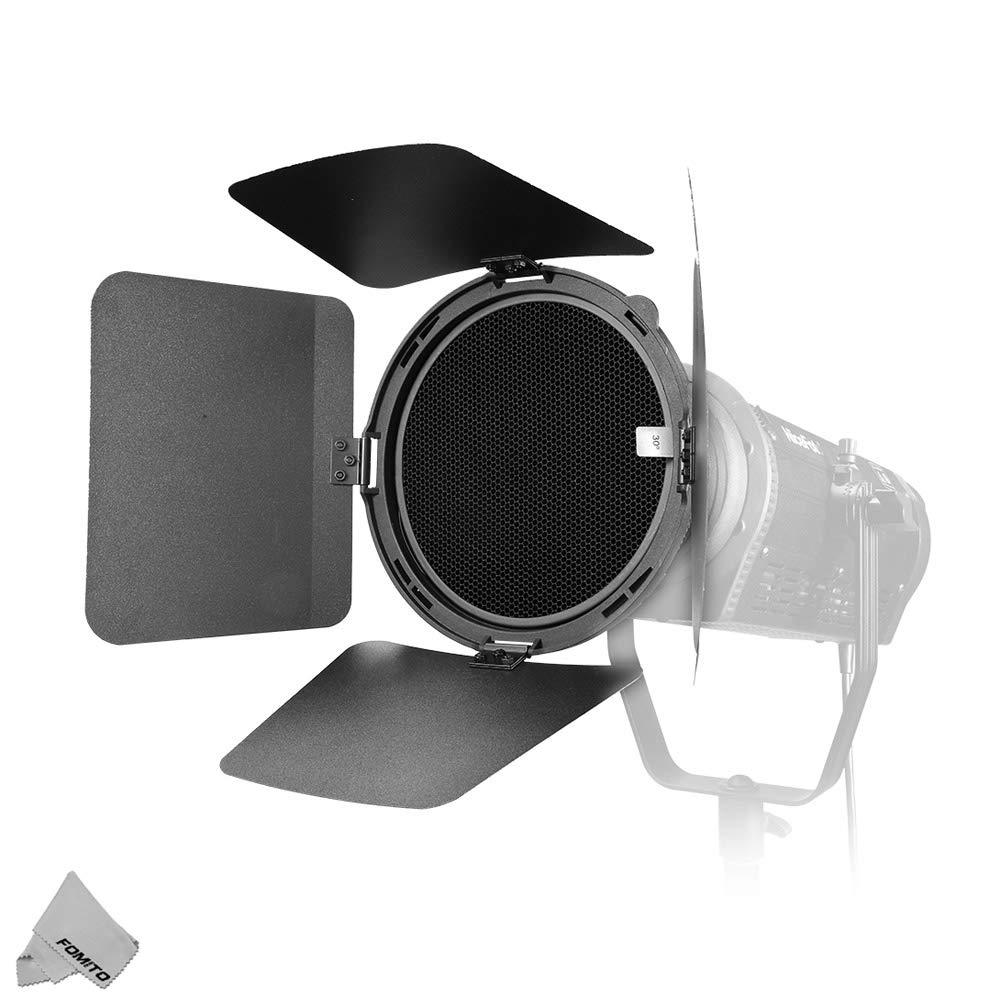 NiceFoto FD-110 Fresnel Mount Light Focusing Adapter with Barn Doors Focus Zoom: 45°~17° for Bowens Mount LED Video Light for Aputure COB 120D II, Nicefoto HB-1000B II, HA-3300B