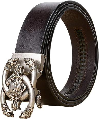 AZ- Cinturones Hombres Negro Real Cuero/Automático Trinquete Marrón Vintage Cinturón Caja Regalo/men Belt Wolf Oro Plata Hebilla Chico Cinturón/Jeans Vaqueros Piel Vaca Cinturón/Largo 110-125: Amazon.es: Ropa y accesorios