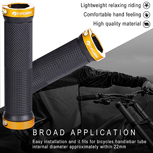 TOPCABIN Bicycle Grips,Double Lock on Locking Bicycle Handlebar Grips Rubber Comfortable Bike Grips for Bicycle Mountain BMX (Gold) by TOPCABIN (Image #3)