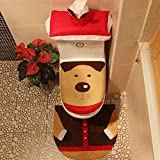 CdyBox 3Pcs Toilet Seat Tank Lid Cover and Rug Set with Tissue Box Cover Xmas Decoration (Santa Reindeer)
