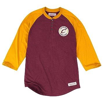Mitchell & Ness – Gorra de baloncesto, diseño de los Cleveland Cavaliers Unbeaten Henley camiseta