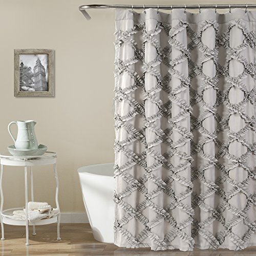 Lush Decor Ruffle Diamond Shower Curtain, Gray (Ruffle Flower Shower Curtain)