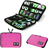 Electronics Accessories Organizer Bag,Portable Tech Gear Phone Accessories Storage Carrying Travel Case Bag, Headphone Earphone Cable Organizer Bag (M-Pink)