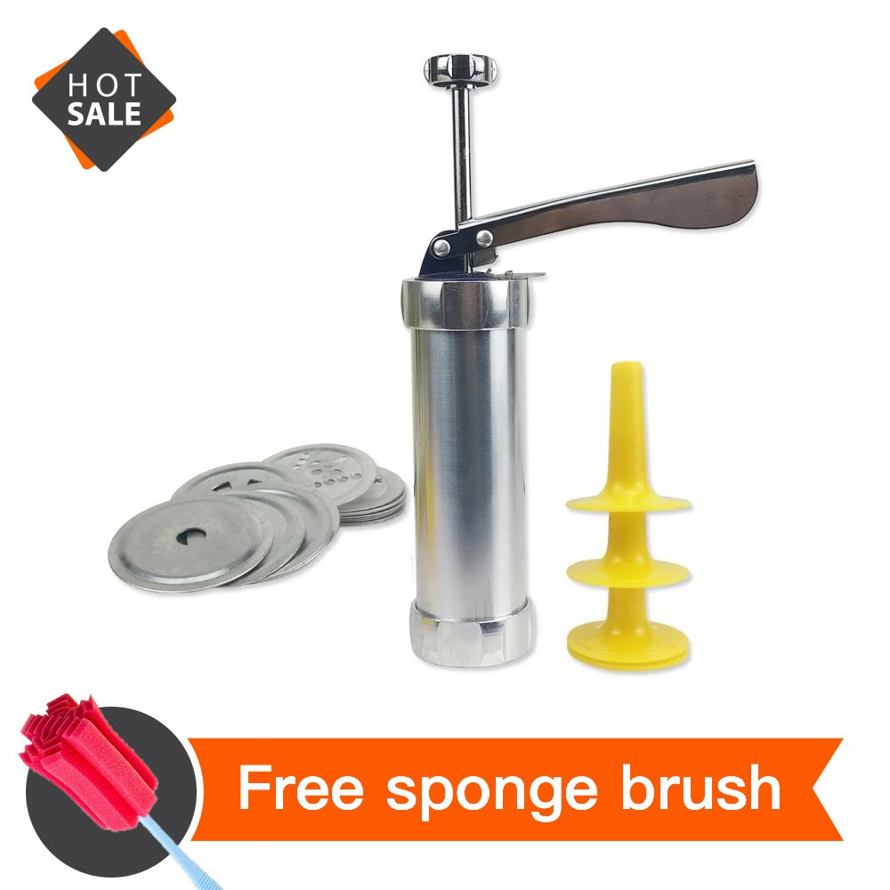 DIY Household Cookie Press,Biscuit Maker, Includes 20 Cookie Disc Shapes for Spritz Cookie(Silver 1 pack)