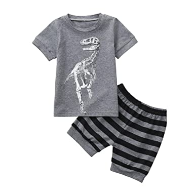 PAOLIAN Conjuntos para Unisex Niños Verano 2018 Ropa para bebé Niños Camisetas + Pantalones Corta Impresion Dinosaurs y Rayas Fiesta Manga Corta de 2 Años 3 ...
